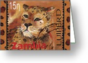 Postage Stamp Greeting Cards - Pawsing On The Spot Greeting Card by Debbie McCulley