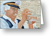 Player Mixed Media Greeting Cards - Pax Man Greeting Card by Michael Lee