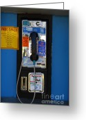 Phone Booth Greeting Cards - Pay Phone . 7D15934 Greeting Card by Wingsdomain Art and Photography