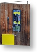 Lake Mcdonald Greeting Cards - Pay Phone and Book Wooden and Yellow Greeting Card by Bruce Gourley