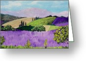 Landscape Drawings Greeting Cards - Pays de Sault Greeting Card by Anastasiya Malakhova
