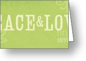 Office Greeting Cards - Peace and Love Greeting Card by Linda Woods