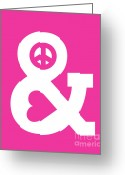 Minimalist Greeting Cards - Peace and Love pink edition Greeting Card by Budi Satria Kwan