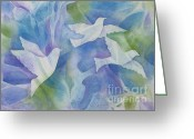 Deb Ronglien Watercolor Greeting Cards - Peace Greeting Card by Deborah Ronglien
