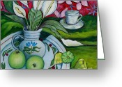 Carolinestreet Greeting Cards - Peace Lilies and Apples Greeting Card by Caroline Street
