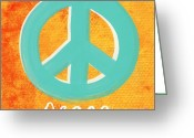 Sky Mixed Media Greeting Cards - Peace Greeting Card by Linda Woods
