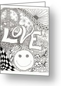 Paula Dickerhoff Greeting Cards - Peace Love and Happiness Greeting Card by Paula Dickerhoff