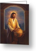 Jesus Art Painting Greeting Cards - Peace on Earth Greeting Card by Greg Olsen