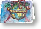 Holiday Notecard Greeting Cards - Peace On Earth Watercolor Greeting Card by Michele Hollister - for Nancy Asbell