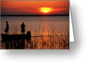 Florida Sunset Greeting Cards - Peace over the water Greeting Card by Susanne Van Hulst