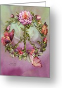 Bud Mixed Media Greeting Cards - Peace Rose Greeting Card by Carol Cavalaris
