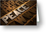 Christmas Blocks Greeting Cards - Peace Greeting Card by Tony Ramos