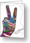Peace Drawings Greeting Cards - Peace Treaty Greeting Card by Robert Wolverton Jr