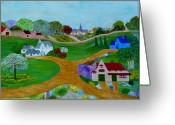 Country Lanes Painting Greeting Cards - Peaceful Country Lanes Greeting Card by Anke Wheeler
