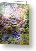 Dew Drops Greeting Cards - Peaceful Garden Greeting Card by Irina Sztukowski