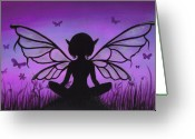 Purple Painting Greeting Cards - Peaceful Meadows Greeting Card by Elaina  Wagner