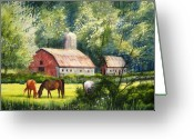 North Painting Greeting Cards - Peaceful Pasture Greeting Card by Shirley Braithwaite Hunt