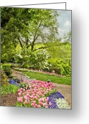 Empty Park Bench Greeting Cards - Peaceful Spring Park Greeting Card by Cheryl Davis