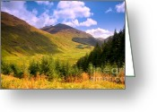 Jenny Rainbow Art Photography Greeting Cards - Peaceful Sunny Day in Mountains. Rest and Be Thankful. Scotland Greeting Card by Jenny Rainbow