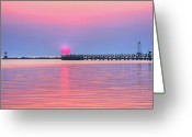 Surf Silhouette Greeting Cards - Peaceful Sunset  Greeting Card by Elizabeth Spencer