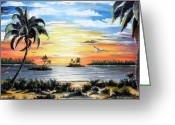 Location Art Greeting Cards - Peaceful Sunset Greeting Card by Riley Geddings