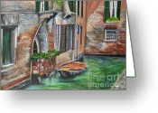 Venice Waterway Greeting Cards - Peaceful Venice Canal Greeting Card by Charlotte Blanchard