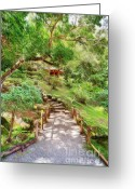 Walk Way Photo Greeting Cards - Peaceful Walk Greeting Card by Cheryl Young