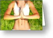 Greet Greeting Cards - Peaceful yoga outdoor Greeting Card by Anna Omelchenko