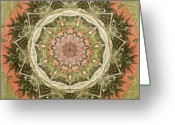 Whimsy Mixed Media Greeting Cards - Peach and Sage Abstract Greeting Card by Bonnie Bruno