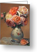 Autograph Greeting Cards - Peach Roses in Porcelain Greeting Card by Lyndall Bass
