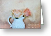 Pitcher Greeting Cards - Peaches and Cream Greeting Card by Marsha Heiken