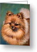 Dog Prints Pastels Greeting Cards - Peaches and Cream Greeting Card by Michelle Wrighton