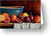 Peach Greeting Cards - Peaches and Figs Greeting Card by Horacio Cardozo