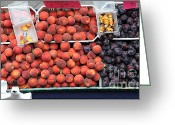 Fruit Basket Greeting Cards - Peaches and Plums - 5D17913 Greeting Card by Wingsdomain Art and Photography