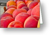 Food And Beverage Digital Art Greeting Cards - Peaches For Sale Greeting Card by Gwyn Newcombe
