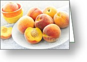 Slice Greeting Cards - Peaches on plate Greeting Card by Elena Elisseeva