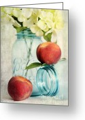 Mason Jar Greeting Cards - Peachy Greeting Card by Darren Fisher
