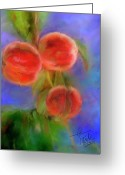 Peaches Greeting Cards - Peachy Keen Greeting Card by Colleen Taylor