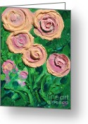 Design Reliefs Greeting Cards - Peachy Roses Taking Form Greeting Card by Ruth Collis