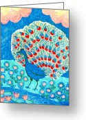 Gold Ceramics Greeting Cards - Peacock and lily pond Greeting Card by Sushila Burgess