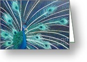 Estephy Sabin Figueroa Painting Greeting Cards - Peacock Greeting Card by Estephy Sabin Figueroa