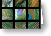 Custom Art Photo Greeting Cards - Peacock Feather Mosaic Greeting Card by Lisa Knechtel