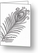 Paula Dickerhoff Greeting Cards - Peacock Feather Greeting Card by Paula Dickerhoff