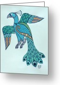 Irish Mixed Media Greeting Cards - Peacock Greeting Card by Ian Herriott