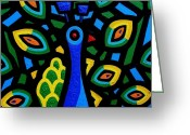 December Painting Greeting Cards - Peacock III Greeting Card by John  Nolan