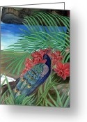 Spirit Rising Greeting Cards - Peacock Greeting Card by Sevan Thometz