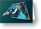 Out Of Frame Greeting Cards - Peacock Greeting Card by Shane Bechler