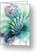 Tail Feather Greeting Cards - Peacock Tail Greeting Card by Anastasiya Malakhova