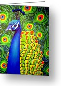 Cards Gallery Greeting Cards - Peacock VII Greeting Card by John  Nolan
