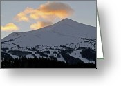 Mountain Summit Greeting Cards - Peak 8 at dusk - Breckenridge Colorado Greeting Card by Brendan Reals